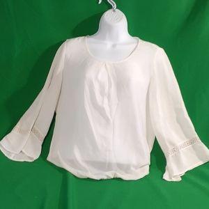 Zac & Rachel S white sheer bell sleeve blouse